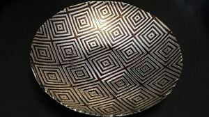 Murano-Italian-Art-Glass-Plate-or-Bowl-Large-Size-Geometric-Patchwork-Design