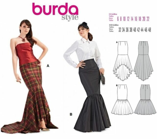 Burda Style 7089 Sewing Pattern Fish Tail Mermaid Skirt Size 6-22 ...