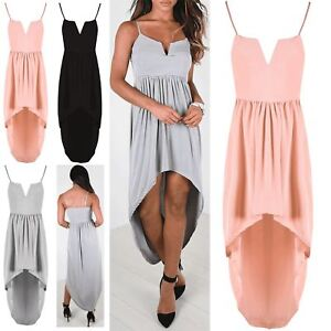 0c554cf4a250 Details about Womens Thin Strappy Bralet V Neck Ladies Ruched Sleeveless  High Low Midi Dress