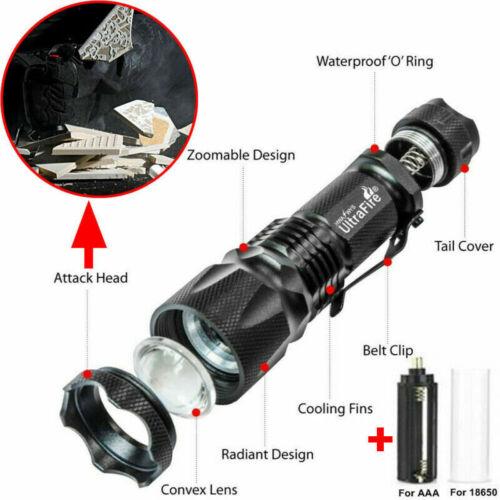 Ultrafire Zoom 100000LM Tactical T6 LED Flashlight Torch Work Light Headlamp UK