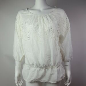 CHICOS-All-Solid-White-Eyelet-3-4-Sleeve-Blouse-Top-Womens-Size-1-Medium