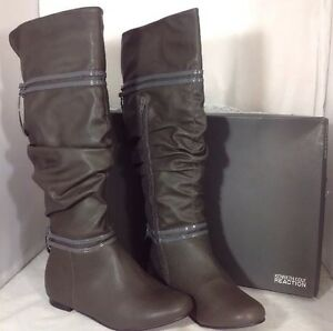 NEW-KENNETH-COLE-Slouch-Knee-Faux-Leather-Boots-Youth-Sz-5-Women-039-s-Shoes-Size-7