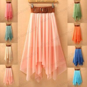 HOT-Sexy-Lady-Chiffon-Pleated-Retro-Long-Maxi-Dress-Elastic-Waist-Skirt-Belt