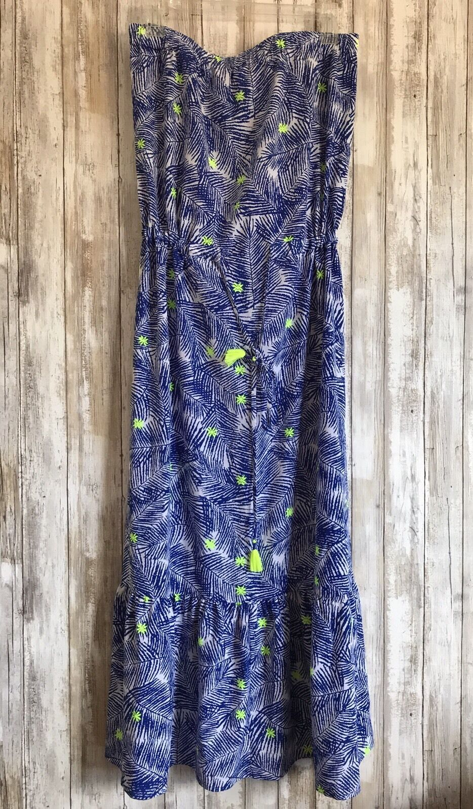 Martha's Vineyard Blau Palm Leaf Tree Pattern Ruffle Maxi Dress M Medium