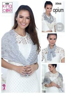3e7685ddc King Cole 5066 Knitting Pattern Womens Wraps and Scarf in Opium ...