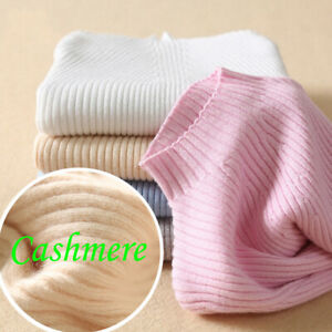 Women-Slim-elastic-Knitted-Half-Turtleneck-Cashmere-wool-Jumper-Pullover-Sweater