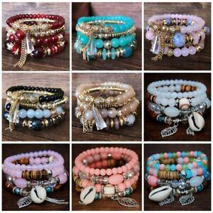 Women Fashion Shell Pearl Crystal Beads Bracelet Multilayer Bangle Jewellery