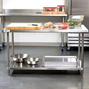 HEAVY DUTY X ALL Stainless Steel Work Prep Table Commercial - 16 gauge stainless steel work table