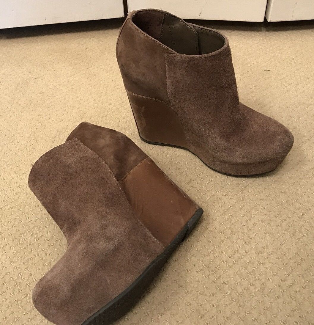 Aldo Ankle Boots High Wedge Platform Suede Brown Size 7
