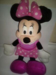 2016-Disney-18-034-Minnie-Mouse-Plush-Stuffed-Toy-Doll-Pink-Polka-Dot-Dress-EUC