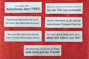 2x-Lustige-Aufkleber-Wohnwagen-Isuzu-Arbeitslos-Arbeit-Geld-langsames-Auto