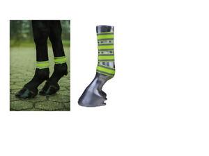 HKM-Hi-Vis-Horse-Leg-Bands-Wraps-Yellow-Set-4-Reflective-Fluorescent-FREE-P-amp-P