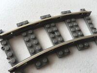 Lego Curved Metal 9v Train Track - Gray