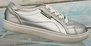 U.S. Polo Assn Womens Silver Athletic Lace Up Sneakers Shoes Size US 6.5