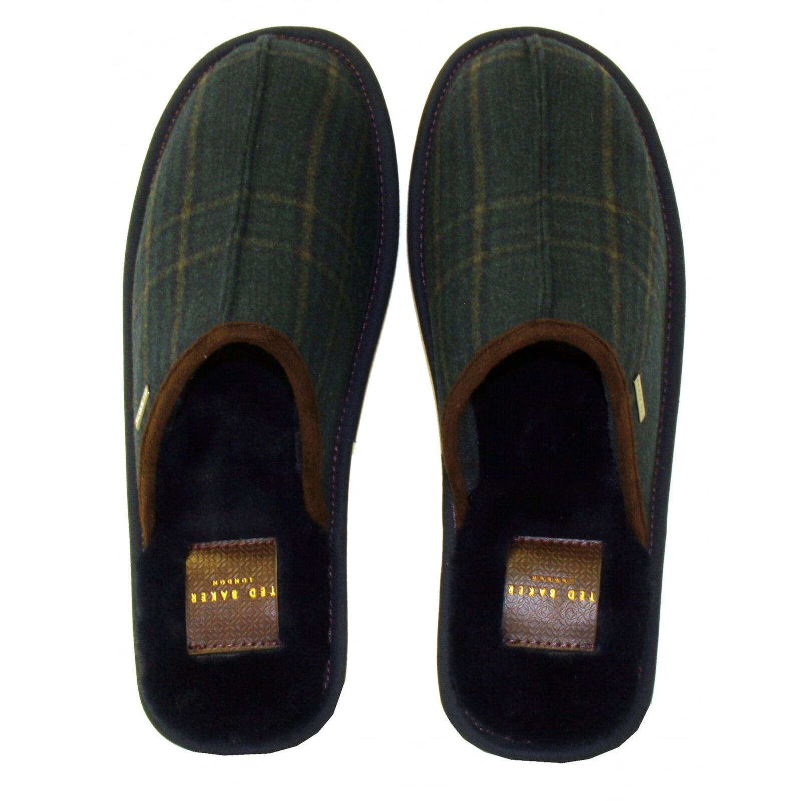 Ted Baker Men's Youngi 2 Suede Slip-on Slippers, Dark bluee Green Check
