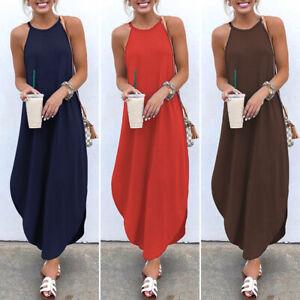 Womens-Solid-Sleeveless-Halter-Neck-Maxi-Dress-Beach-Party-Casual-Strap-Sundress