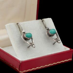 Antique-Vintage-Art-Deco-925-Sterling-Silver-Turquoise-Geometric-Drop-Earrings