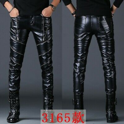 Mens Faux Leather Pants Night Club Slim Fit Pencil ChicTrousers Leisure New Chic
