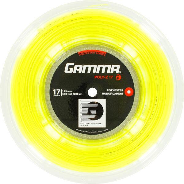 TENNIS STRING GAMMA POLY-Z 2 GAUGES 200M YELLOW