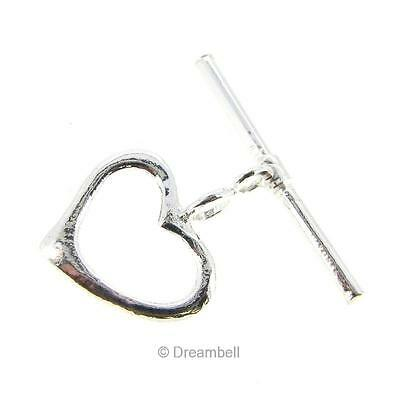 1x BRIGHT STERLING SILVER SWEET HEART CLASSIC TOGGLE CLASP 14mm #1389