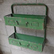 Industrial Style Green Distressed Metal Wall Shelving Rack Tool Storage Unit