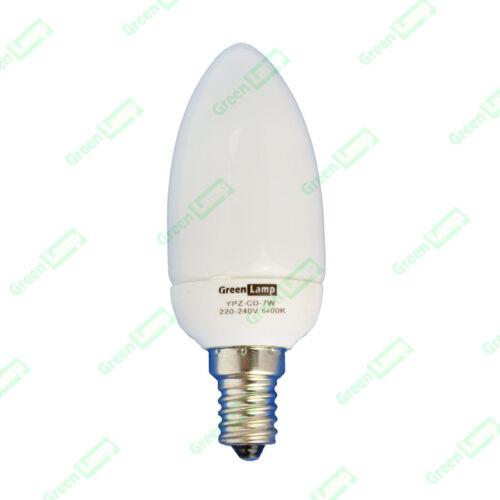6 x CANDLE Low Energy Saving CFL Bulb white light 7w = 35w Edison Screw ES E14