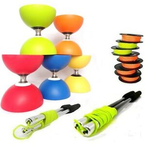 Cyclone Triple Bearing Diabolo with Sticks and Extra String - Diablo Metal Stick