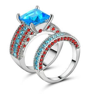 Size-7-White-Rhodium-Wedding-Ring-2-in-1-Engagement-Blue-Gemstone-Valentine