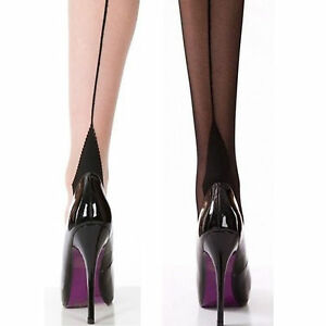 Ladies-Back-Seam-Tights-Hold-ups-Stockings-Sexy-Burlesque-Heel-40-Nights