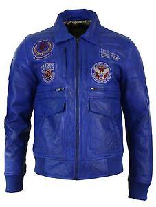 Force véritable cuir pilote volant bleu Air en homme pour Veste en cuir de RqTwF