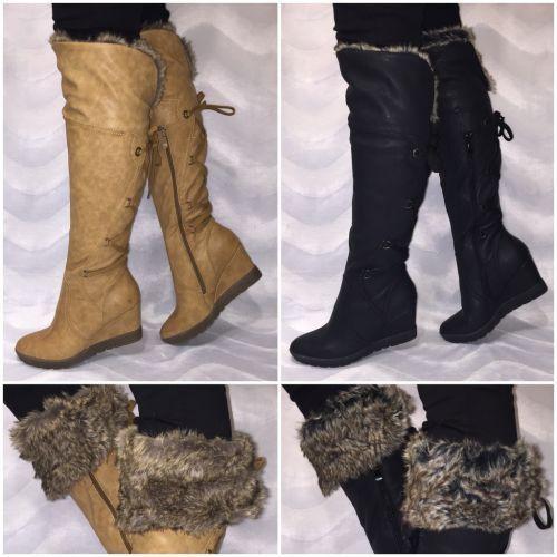 Overknees mit Kunstfell gefüttert Keilstiefel Stiefel mit Schürung