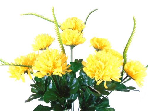 "YELLOW Mum Bush Artificial Silk Flowers 18/"" Bouquet Centerpiece Deco 10-8426 YEL"