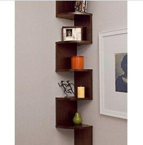 Wall Hanging Shelves corner hanging shelf storage walnut tall wall mount bookshelf home