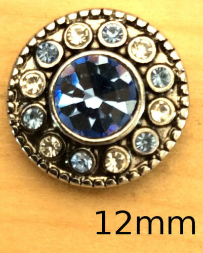 `Mini Snap Chunk Buttons Silver Blue Clear Charm For Ginger Snap Style Jewelry