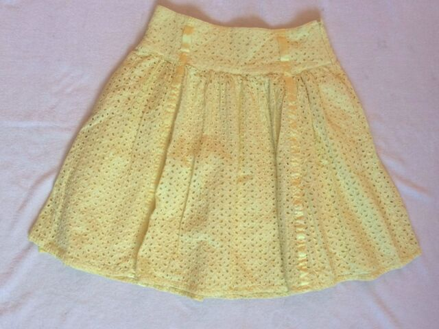 VENUS Women's Skirt, YELLOW EYELET, FULLY LINED, 100% COTTON, SIZE 10 EUC