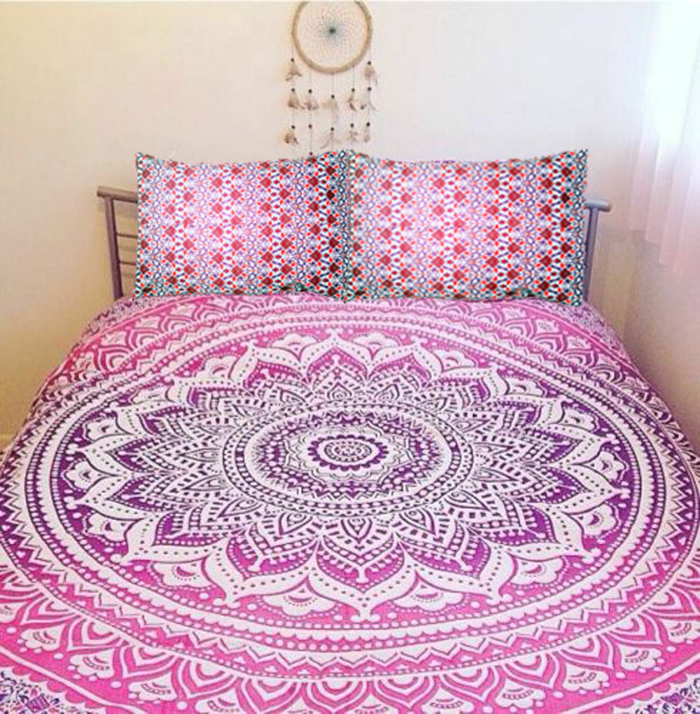 Pink Ombre Mandala Duvet Doona Quilt Cover Hippe Bohemian Bedding Coverlet Throw