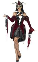 Ladies Gothic Harlequin Medieval Jester Halloween Fancy Dress Costume Outfit