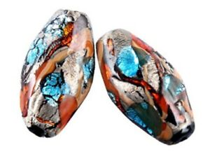 10pcs-handmade-Lampwork-glass-brown-silver-foil-beads-15-28mm