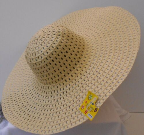 LADIES STRAW OVERSIZED FLOPPY SUN HAT NATURAL TAN STRAW 21/""