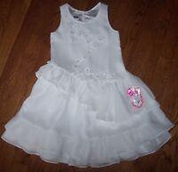 Pampolina $78 White Chiffon Ruffled Flowers 4/4t Girls Party/wedding Dress
