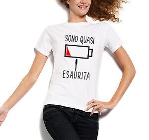 t shirt donna divertenti  T-SHIRT T SHIRT DONNA DIVERTENTE SONO QUASI ESAURITA BATTERIA | eBay
