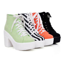 Womens Lace Up Block Chunky Heel Platform New Punk Ankle Boots Shoes Plus 11  43