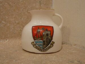 WH-GOSS-CRESTED-CHINA-JUG-PITCHER-ANCIENT-MOAT-OF-SCARBOROUGH-GOSHAWK-STAMP