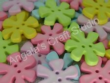 10 LARGE FUNKY PASTEL FLOWER NOVELTY Buttons - Great for Craft & Sewing Projects