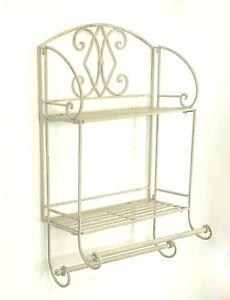French-Vintage-Style-Metal-Double-Wall-Shelf-Unit-Rack-Towel-Rail-Shabby-Chic