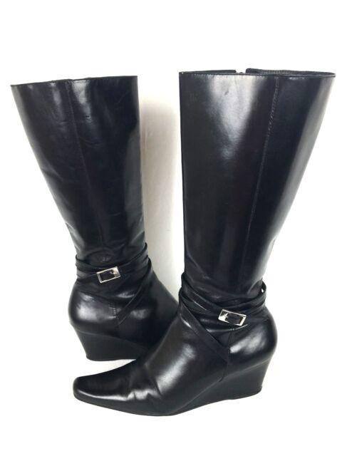 CLARKS Boots 7 Black Leather Heels Women's