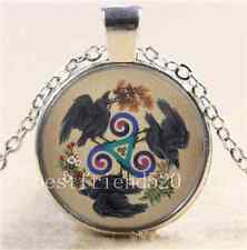Hera With Raven Cabochon Glass Tibet Silver Chain Pendant Necklace