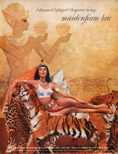 I Dreamed I Played Cleopatra in My Maidenform Bra Tiger Pelt 1952 Magazine Ad