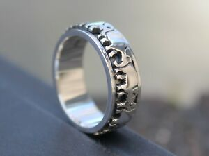 Men-039-s-and-Women-039-s-925-Sterling-silver-Elephants-Spinner-ring-7mm-ring-band-Gift