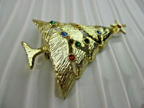 Details about  /Signed B.J RHINESTONE Goldtone CHRISTMAS TREE Brooch Pin